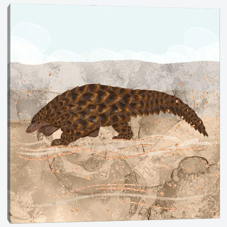 Pangolin Walking In The Desert Canvas Print #AEE74} by Andreea Dumez Canvas Wall Art