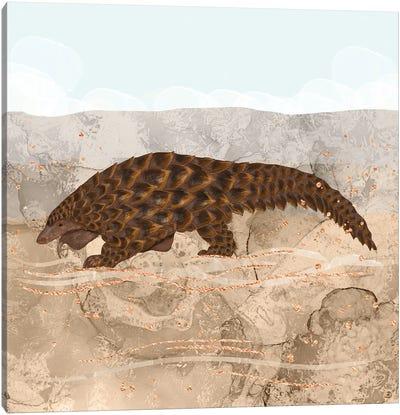 Pangolin Walking In The Desert Canvas Art Print