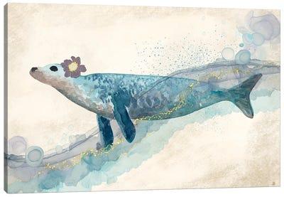 Seal In The Ocean Waves Canvas Art Print