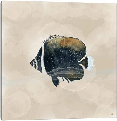 Exotic Butterflyfish In Earth Tones Canvas Art Print