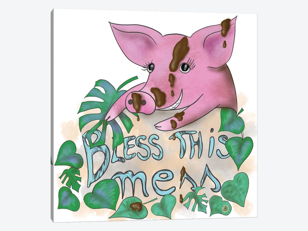 Bless This Mess - Muddy Pig by Andreea Dumez 1-piece Art Print