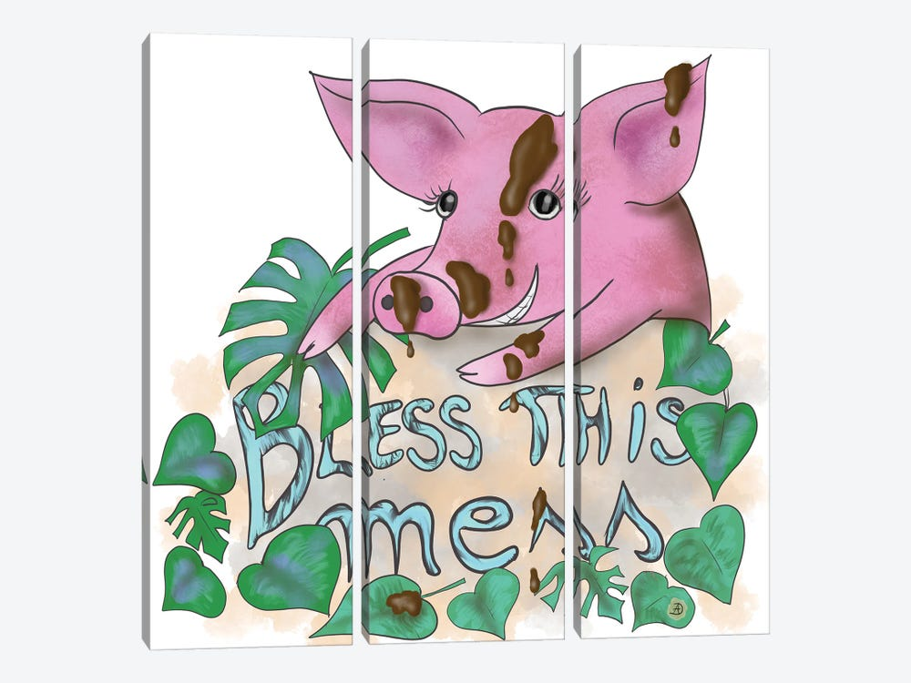 Bless This Mess - Muddy Pig by Andreea Dumez 3-piece Canvas Art Print