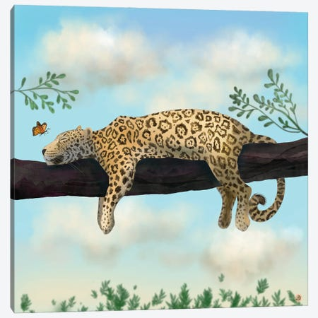 Lazy Jaguar On A Branch Canvas Print #AEE81} by Andreea Dumez Canvas Art