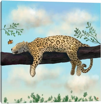 Lazy Jaguar On A Branch Canvas Art Print
