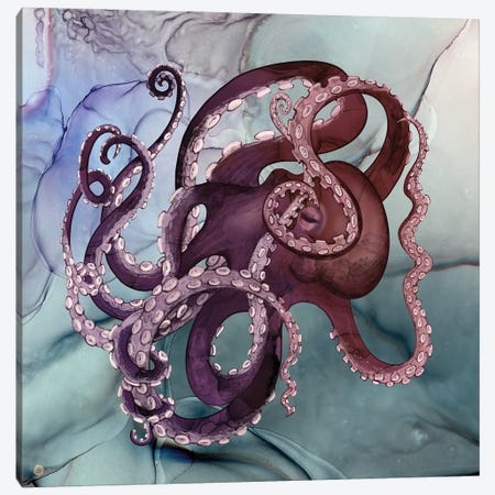 Octopus In A River Of Ink Canvas Print #AEE84} by Andreea Dumez Canvas Art Print