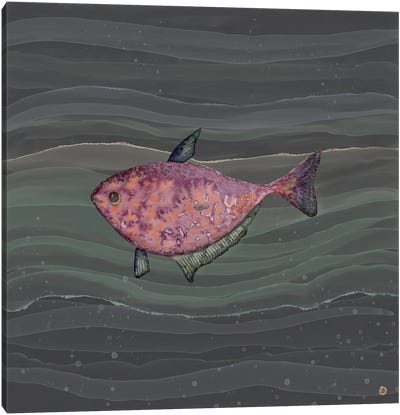 Mysterious Red Fish In Deep Sea Waters Canvas Art Print