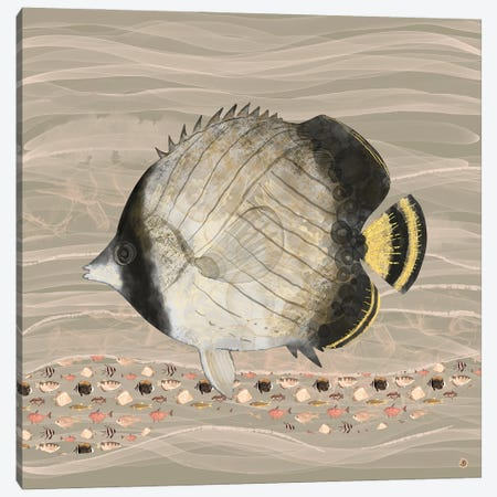 Butterfly Fish In Neutral Earth Tones Canvas Print #AEE87} by Andreea Dumez Art Print