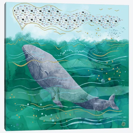Blue Whale Song In The Emerald Ocean Canvas Print #AEE8} by Andreea Dumez Canvas Wall Art