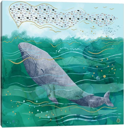 Blue Whale Song In The Emerald Ocean Canvas Art Print