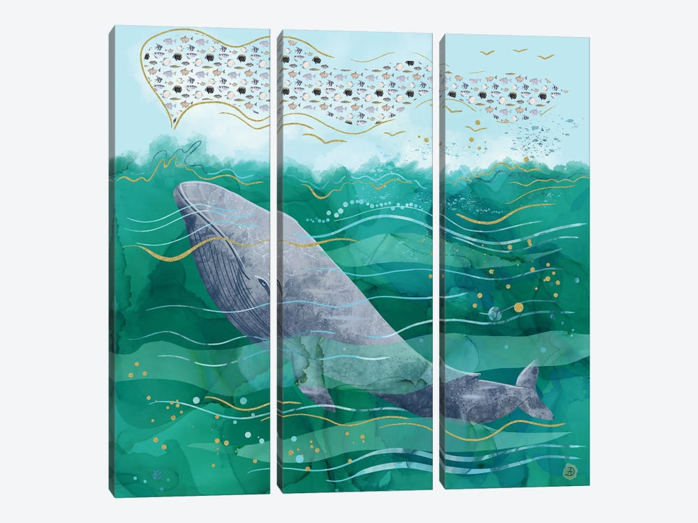 Blue Whale Song In The Emerald Ocean by Andreea Dumez 3-piece Canvas Wall Art