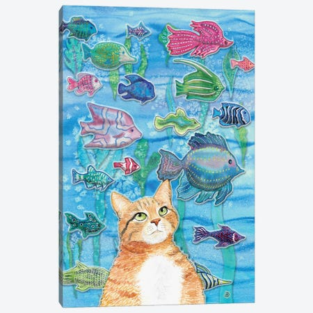 Cat Watching The Fish Tank I Canvas Print #AEE9} by Andreea Dumez Canvas Wall Art