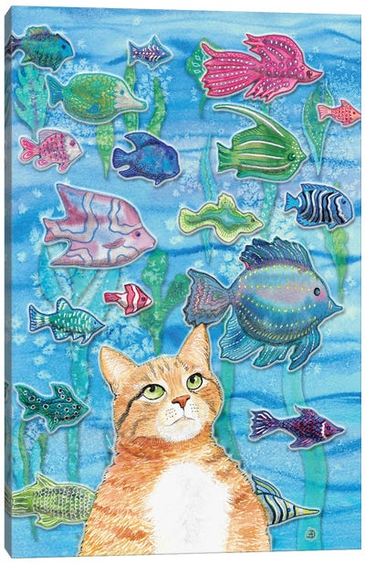 Cat Watching The Fish Tank I Canvas Art Print