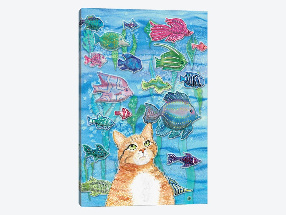 Cat Watching The Fish Tank I by Andreea Dumez 1-piece Canvas Print
