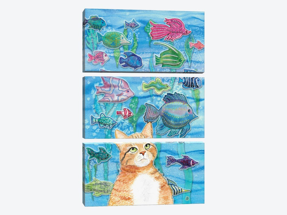 Cat Watching The Fish Tank I by Andreea Dumez 3-piece Canvas Art Print