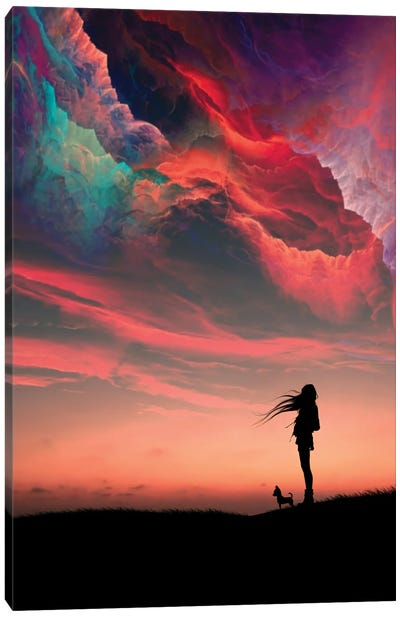 Girl And Colors Canvas Art Print