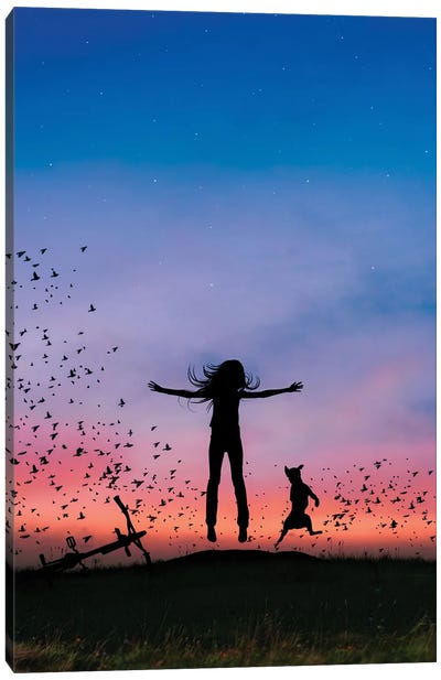 Fly With Birds Canvas Art Print
