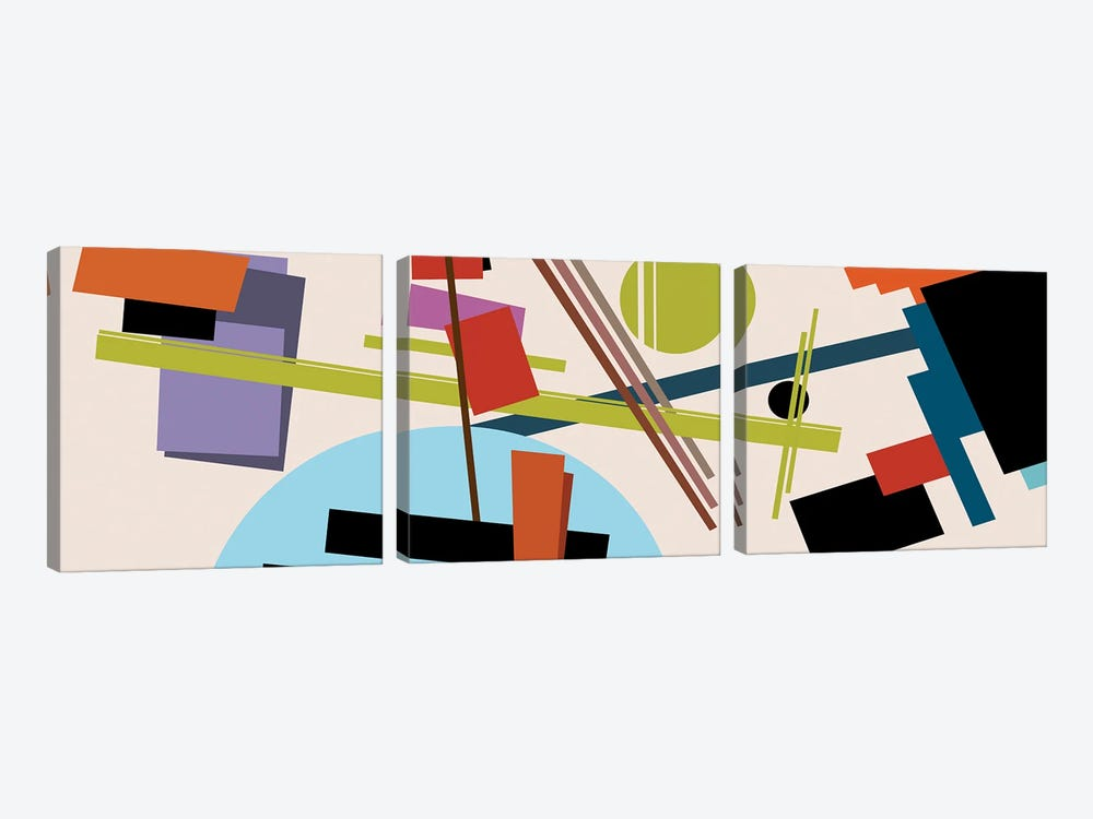 Homage To Malevich by Angel Estevez 3-piece Canvas Print