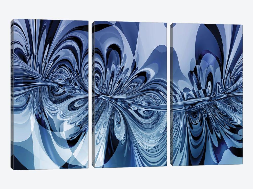 3D Sinuous Shapes by Angel Estevez 3-piece Canvas Print