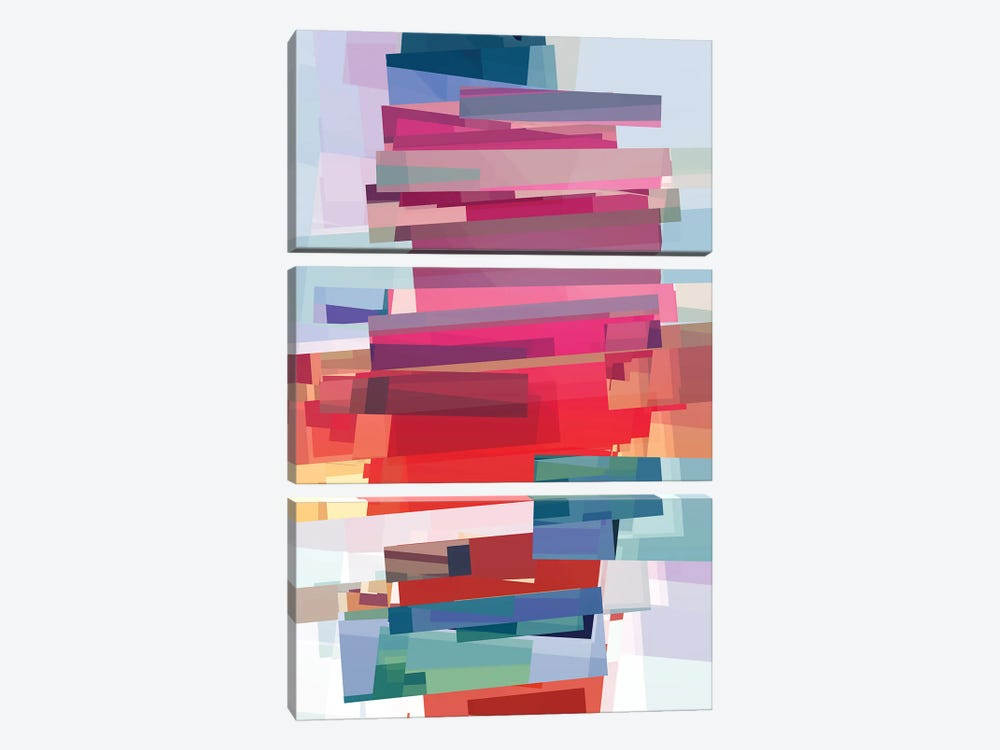 Construction With Rectangles by Angel Estevez 3-piece Canvas Print