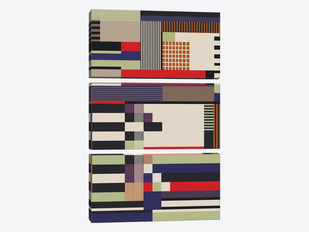 Lines,Squares And Rectangles 3-piece Canvas Art
