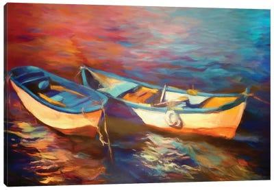 Canoes At Dusk Canvas Art Print
