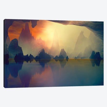 Cave And The Lake Canvas Print #AEZ15} by Angel Estevez Canvas Art Print