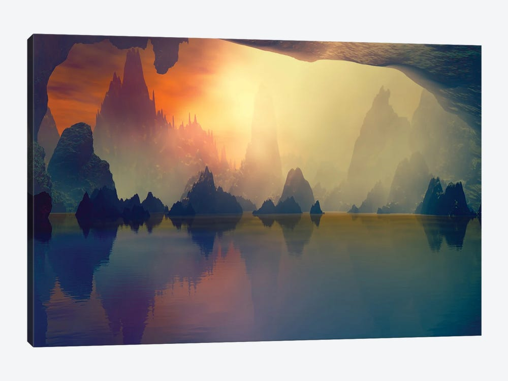 Cave And The Lake by Angel Estevez 1-piece Canvas Art Print