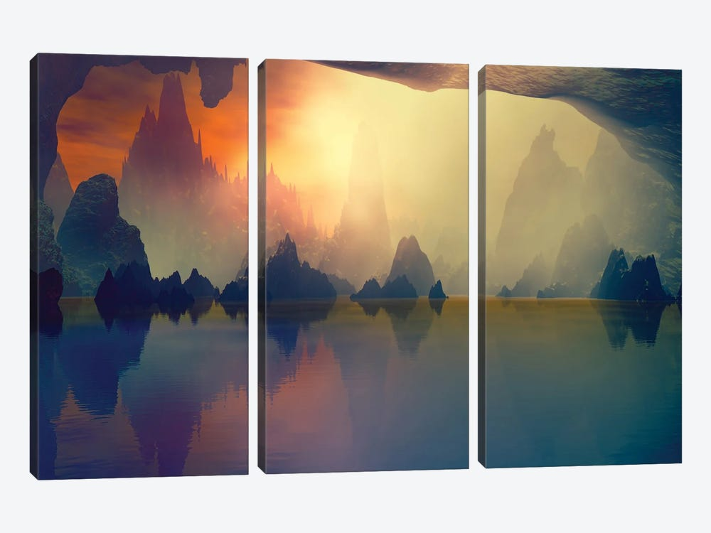 Cave And The Lake by Angel Estevez 3-piece Canvas Print
