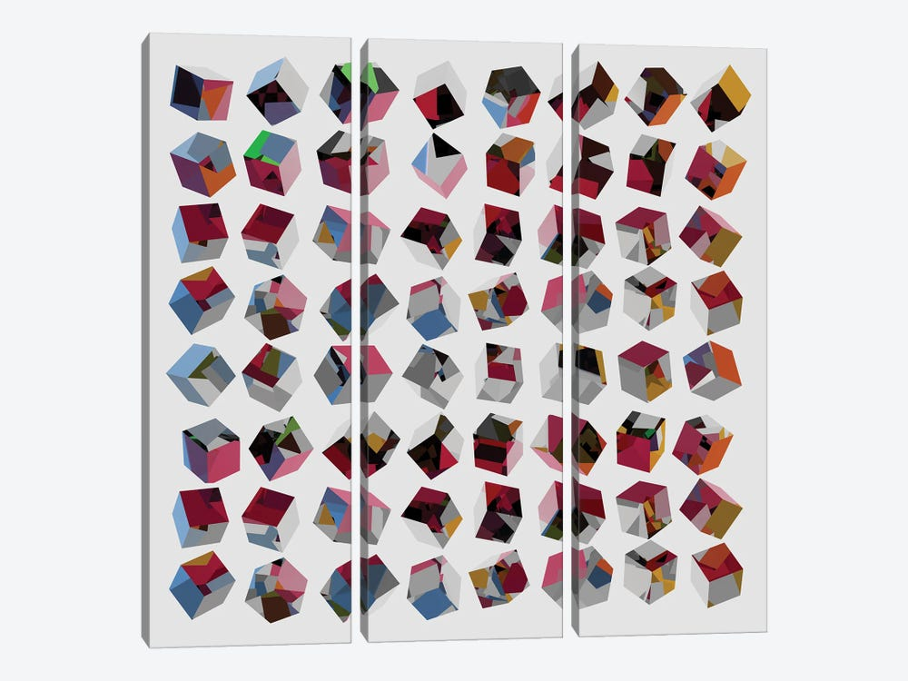 3D Cubes by Angel Estevez 3-piece Canvas Wall Art