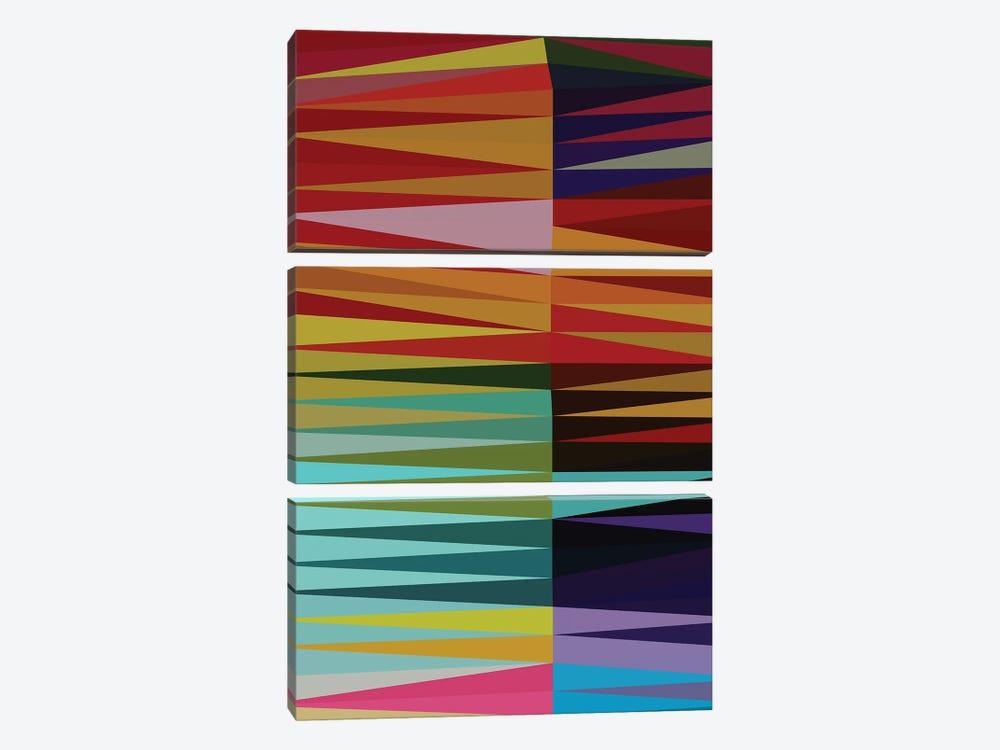 Pointed Shapes by Angel Estevez 3-piece Canvas Art Print