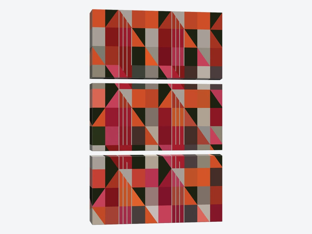 Triangles And Rectangles by Angel Estevez 3-piece Canvas Art Print
