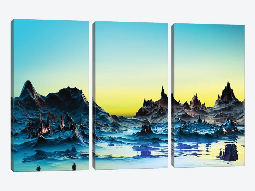 A Cold Bluish Landscape by Angel Estevez 3-piece Canvas Art