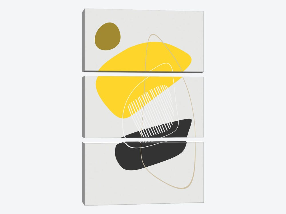 Minimal in Yellow and Black by Angel Estevez 3-piece Canvas Wall Art