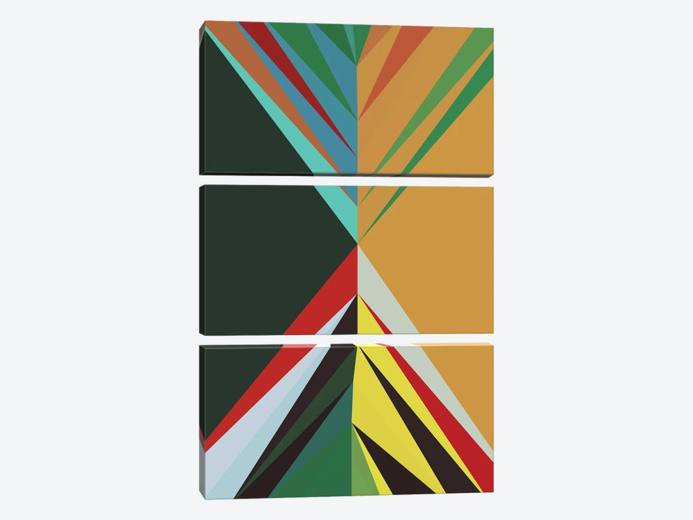 Pointed Shapes II by Angel Estevez 3-piece Canvas Print
