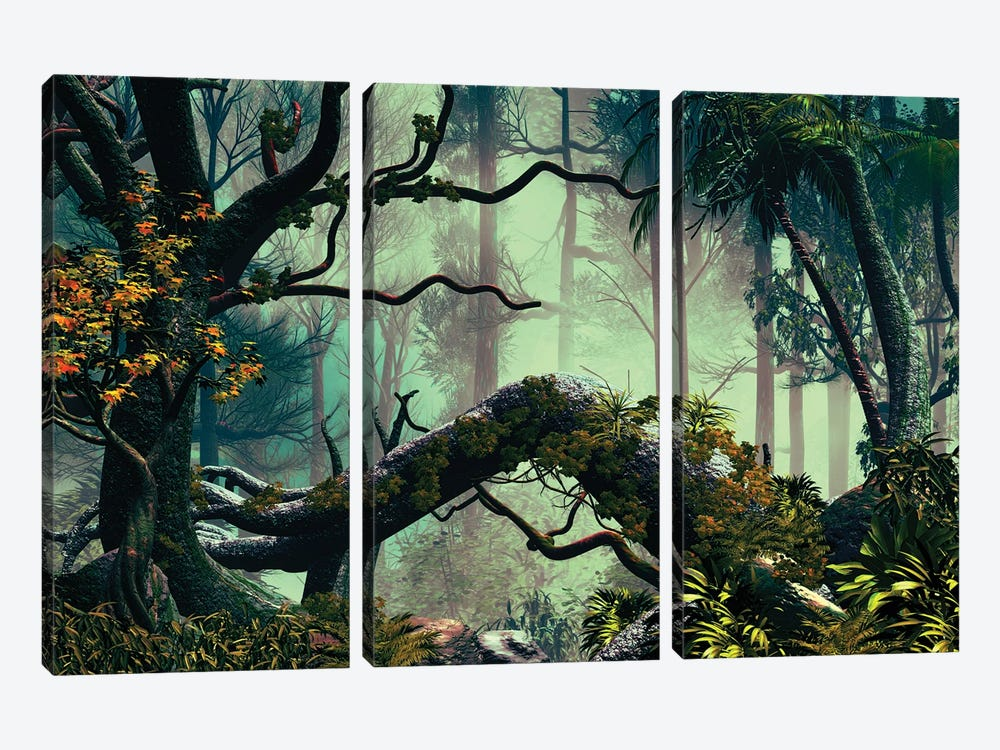 In The Forest by Angel Estevez 3-piece Canvas Artwork