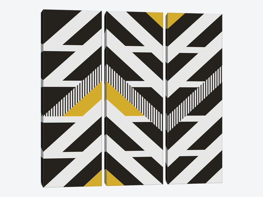 Black, White And A Little Bit Of Yellow by Angel Estevez 3-piece Canvas Art Print