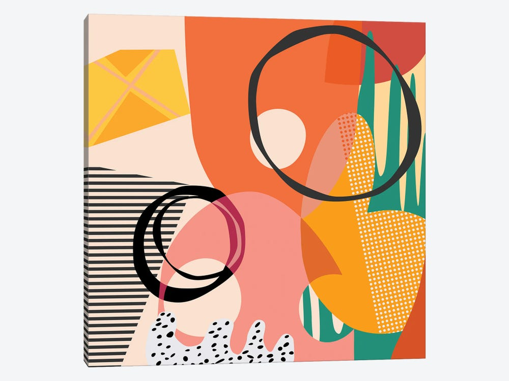 Meeting Of Shapes And Patterns by Angel Estevez 1-piece Art Print