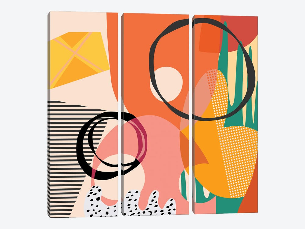 Meeting Of Shapes And Patterns by Angel Estevez 3-piece Canvas Print