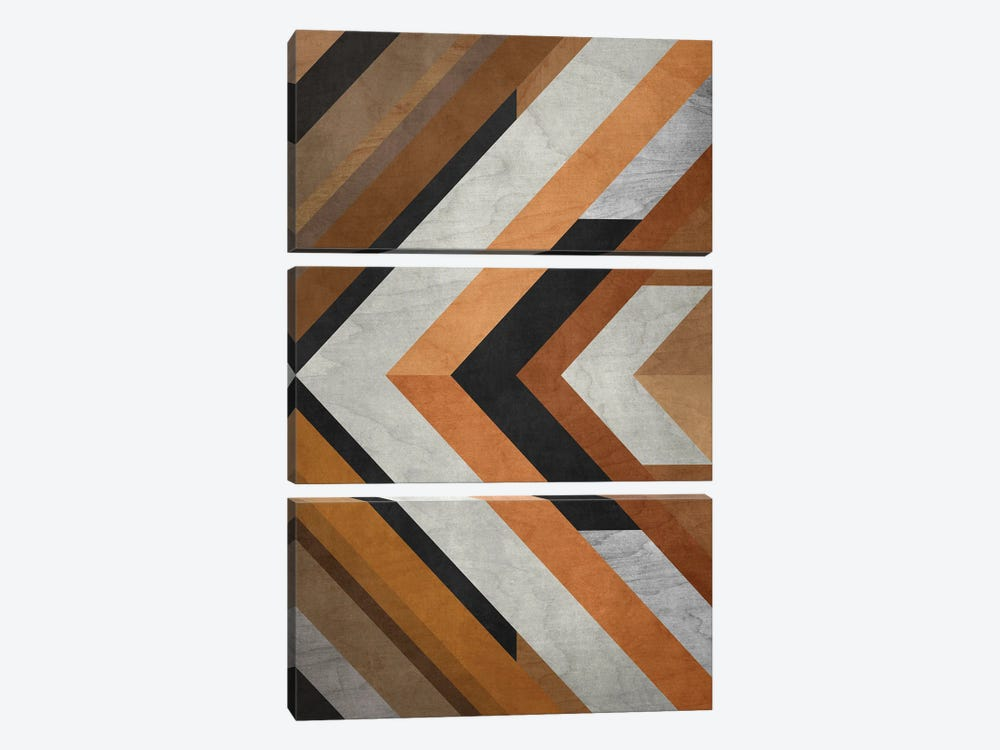 Wood Geometric Pattern by Angel Estevez 3-piece Canvas Art Print