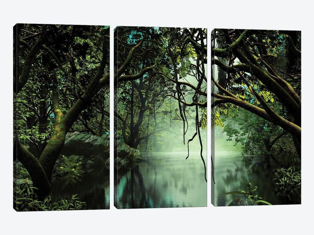 River In The Jungle by Angel Estevez 3-piece Canvas Art