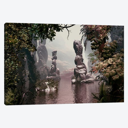 Sculpted Rocks In Water Canvas Print #AEZ50} by Angel Estevez Canvas Artwork