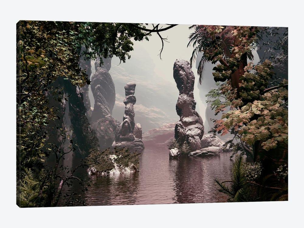 Sculpted Rocks In Water by Angel Estevez 1-piece Canvas Wall Art