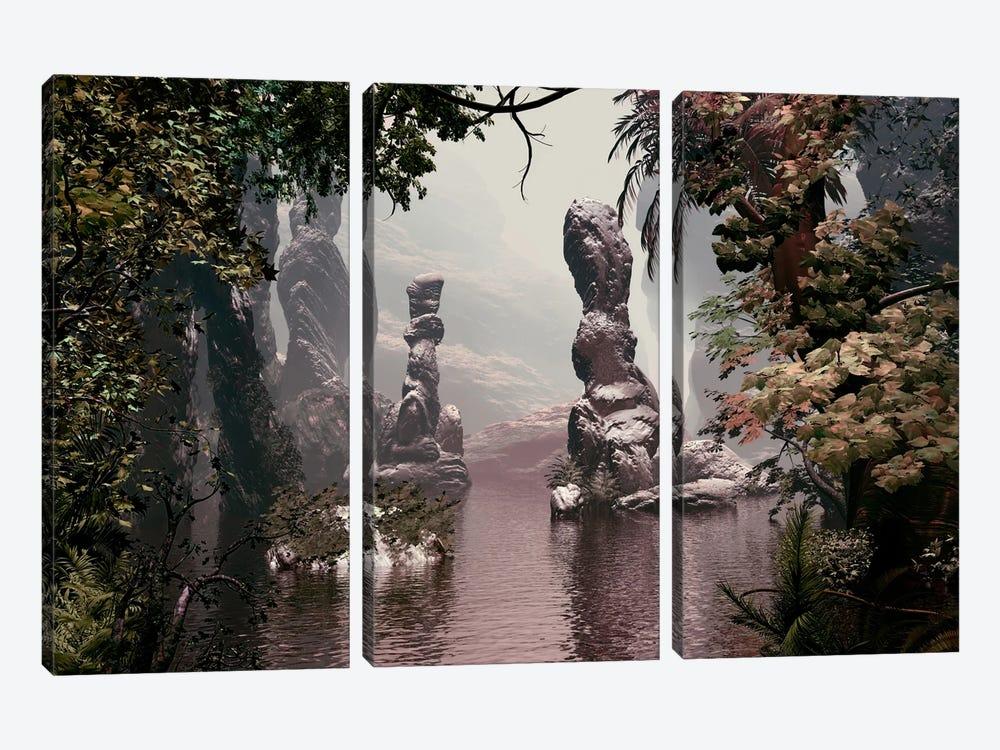 Sculpted Rocks In Water by Angel Estevez 3-piece Canvas Artwork