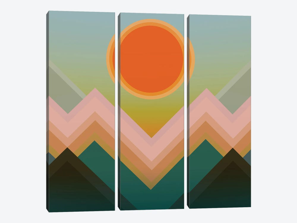 Sunset In The Mountains III by Angel Estevez 3-piece Canvas Wall Art