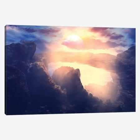 Sunset In The Rocks Canvas Print #AEZ55} by Angel Estevez Canvas Print