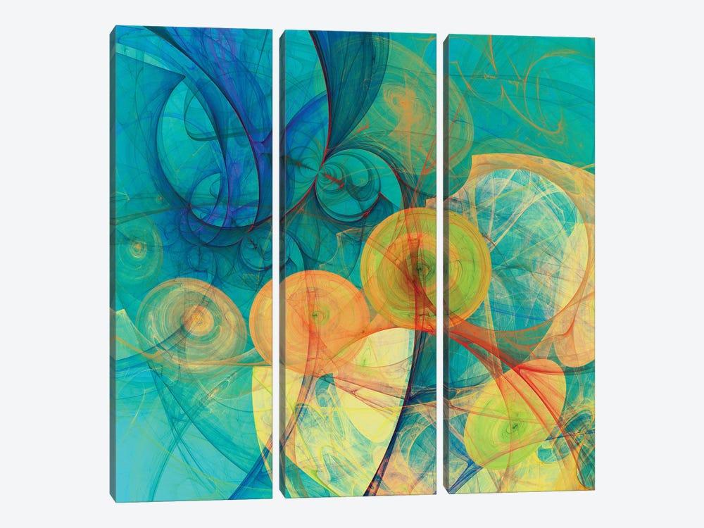Moving Circles by Angel Estevez 3-piece Canvas Print