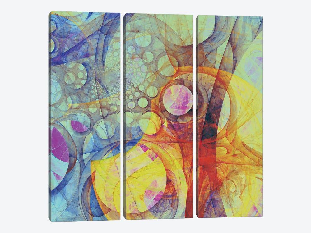 Moving Circles II by Angel Estevez 3-piece Canvas Art