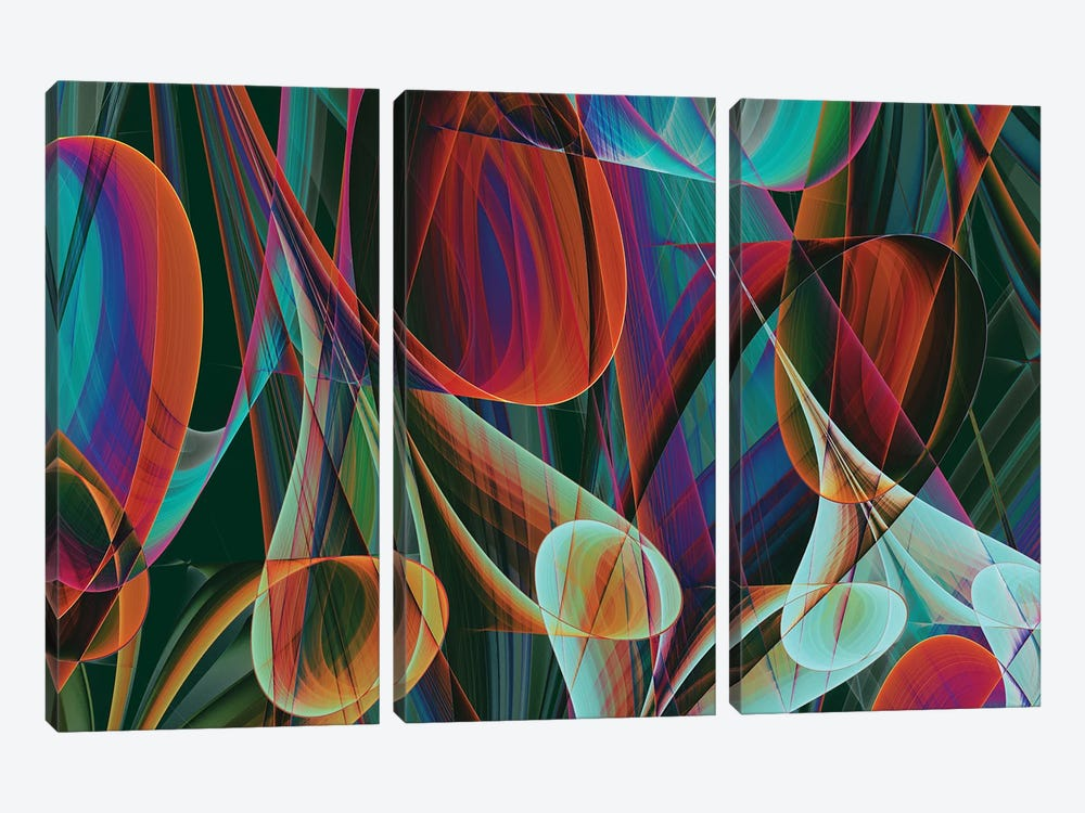 Colored Horns by Angel Estevez 3-piece Canvas Print