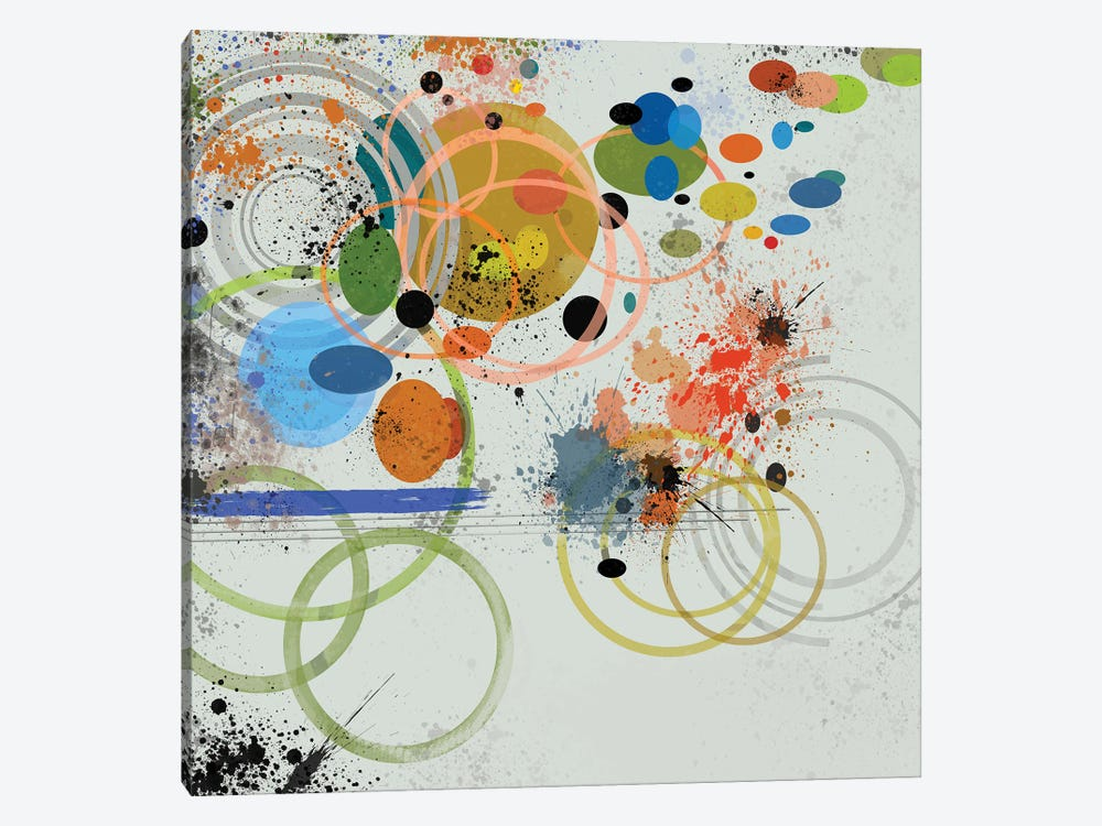 Circles And Splashes by Angel Estevez 1-piece Canvas Art