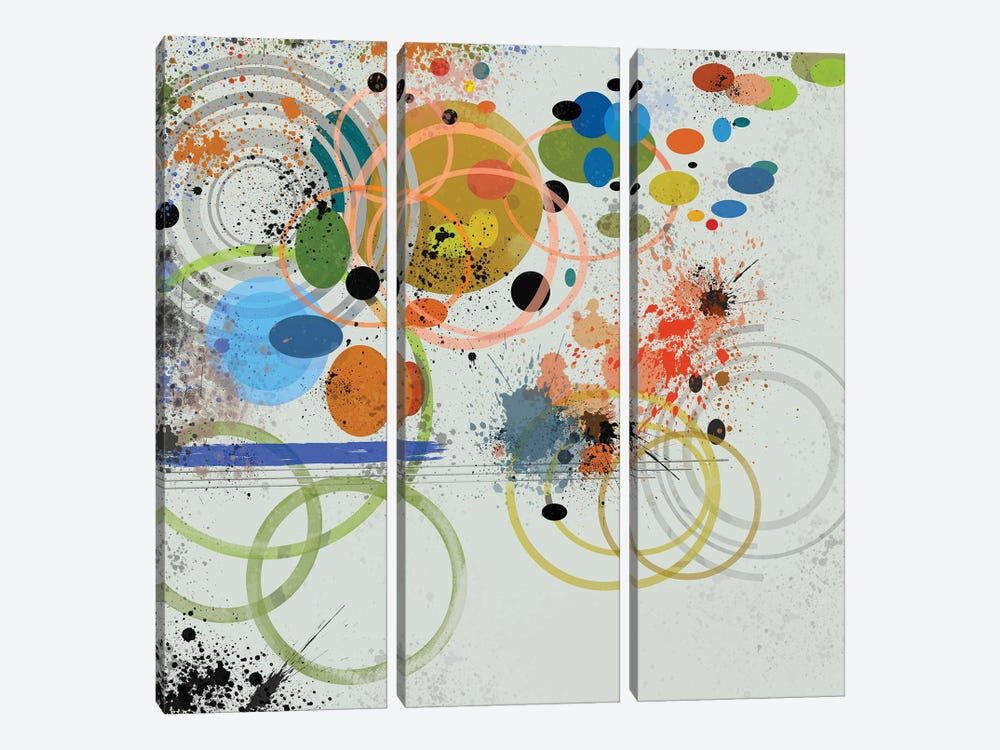 Circles And Splashes by Angel Estevez 3-piece Canvas Wall Art